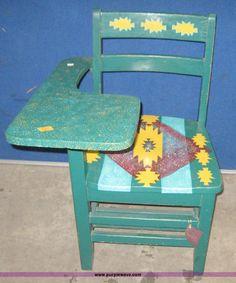 6876.JPG - Hand painted school desk, 22 quot x23 quot x28 quot , ...