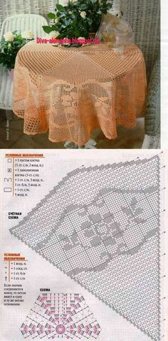 Discover (and save! Crochet Table Topper, Crochet Tablecloth Pattern, Crochet Doily Patterns, Crochet Squares, Thread Crochet, Crochet Designs, Crochet Doilies, Filet Crochet Charts, Crochet Diagram