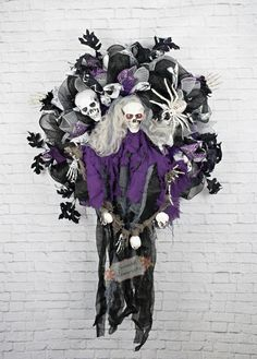 XL Animated Skeleton Ghoul Wreath Light up by SplendidHomecrafts