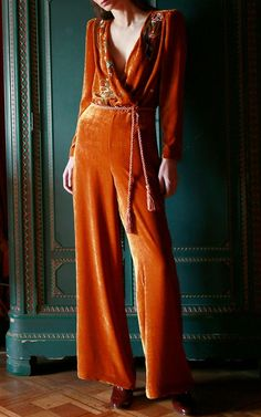 This **Vivetta** Congo Embroidered Velvet Jumpsuit features a wrap v neckline, belted waist, and a wide leg. Fashion Moda, Look Fashion, Fashion 2020, Womens Fashion, Velvet Jumpsuit, Velvet Fashion, Women's Fashion Dresses, Jumpsuits For Women, Lounge Wear