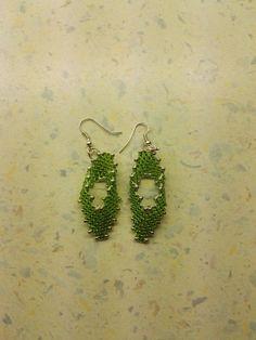 #miyuki #earrings #russian leaf #green Crochet Earrings, Drop Earrings, Green, Jewelry, Jewelery, Jewellery Making, Drop Earring, Jewlery, Jewels