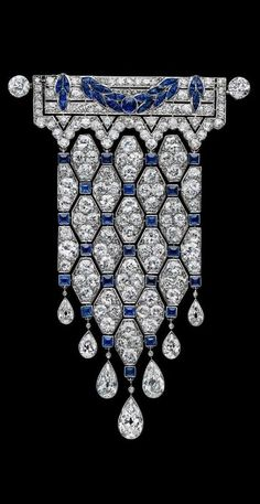Brooch pin handmade 925 sterling silver Art Deco Vintage Style White Blue Gift* #Handmade