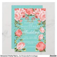 Turquesa E Coral, Teal Coral, Turquoise Coral Weddings, Floral Invitation, Floral Wedding Invitations, Custom Invitations, Anniversary Invitations, 35th Anniversary, Coral Wedding Decorations