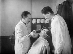 A wounded First World War soldier with facial injuries has a plaster cast made of his face so that a mask can be produced to cover his wound...