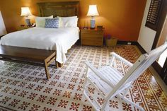 Discover the design possibilities of encaustic cement tile. You'll find inspired commercial and residential tile installations using Avente's cement tile. Mosaic Flooring, Flooring, Mosaic Floor Tile, Tile Manufacturers, Cozy Bedroom, Cement Tile, Tile Design, Residential Tile, Bedroom Flooring