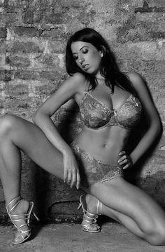 Jana Defi - decorative underwear - squat pose