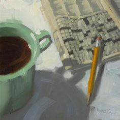 """Daily Paintworks - """"Green Cup with a crossword  6 x 6  oil"""" - Original Fine Art for Sale - © Claudia Hammer"""