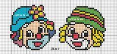 Clowns perler bead pattern