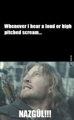 Whenever I hear a loud or high pitched scream NUZGÛL! I need to start doing this.