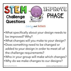 Questioning Strategies for STEM Challenges — Carly and Adam Easy Science Experiments, Science Lessons, Stem Teacher, Favorite Questions, Reflection Questions, Stem Learning, Classroom Freebies, Stem Challenges, Teaching Resources