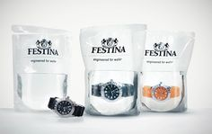 We Love Advertising  Para comunicar que los relojes Festina eran sumergibles, la agencia Scholz & Friends creo este packaging en el que los relojes eran vendidos en bolsas de agua.