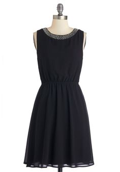 Dramatic Opening Night Dress. Youll steal the spotlight at the restaurant opening in this gorgeous sleeveless black A-line dress! #black #modcloth