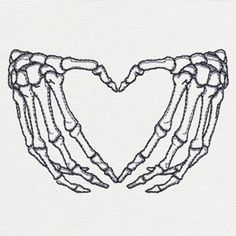 Skeleton Heart Hands - Thread List | Urban Threads: Unique and Awesome Embroidery Designs