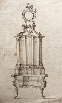 Franz-Xaver Habermann (1721-1796) Important set of three designs for secretaires Augsburg, um 1760, black chalk, pen and brown ink, grey wash on paper. Height: 270 mm to 273 mm  Width: 166 mm to 184 mm