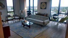 Dramatic Mid Century Modern Long Sculptural Atomic Sofa (U.S.A. 1960s)