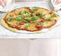 Pizza margherita in 4 easy steps - wow, homemade pizza is really good! And easy! I'm toying with the idea of freezing a pack of grated cheese and individual portions of sauce to have pizza on tap, whenever. Bbc Good Food Recipes, Dinner Recipes, Cooking Recipes, Healthy Recipes, Pizza Recipes, Healthy Dishes, Dinner Dishes, Easy Recipes, Bbc Recipes