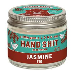 """Keep your hands soft in dry weather with this """"hand shit"""" hand cream that smells like jasmine & fig. This little tin of hand lotion will come in handy when you need some lotion for your dry skin. Remember a little goes a long way!"""