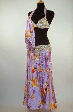 Lavender and Orange floral print with Crystal AB bra and waist