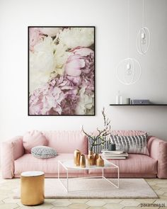This kind of photo can be an inspirational and incredible idea Pink Sofa, Small Sofa, Interior Walls, Palm Springs, Living Area, Love Seat, Wall Decor, Wall Art, New Homes