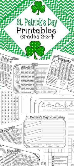This handy little pack of St. Pat's themed non-fiction printables includes: 5 Informational Text  reading passages w/ comprehension checks,  5 Writing Prompts, 2 Vocab Studies, 1 Word Search  and 1 Crossword.  If you want to add some holiday fun into your day without sacrificing learning, simply print these out and use them as morning warm ups, pieces of your lit centers, part of your homework packet or something  fun  for early finishers!