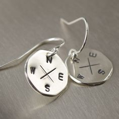 Sterling silver compass earrings