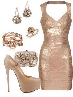 Gold Mesh Dress and Accessories fashion dress gold rings earrings clutch dressy accessories outfit pumps mesh ensemble Elegant Dresses For Women, Sexy Dresses, Beautiful Dresses, Dress Outfits, Fashion Dresses, 1950s Dresses, Bandage Dresses, Homecoming Dresses, Bodycon Dress