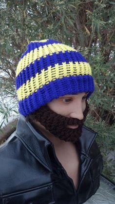 b5278077031 Items similar to SALE   Purple and Gold Beard Beanie w  Detachable Beard(Choose  your Beard Color) on Etsy