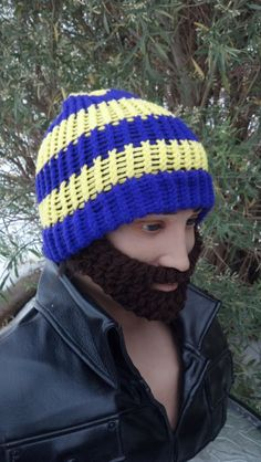 Purple and Gold Beard Beanie w/ Detachable by HolyNoggins on Etsy, $35.00