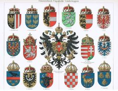 1900: Austro-Hungarian Coats of Arms. Decorative Chromo lithograph from Collect at Curioshop on Ruby Lane
