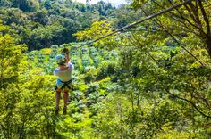 lady zip lining the first cable osa palmas canopy tour  Las Palmas, near Puerto Jimenez Osa Peninsula #fun #zipline #costarica