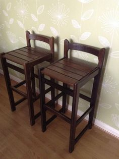 Vintage Pair of Bar Stools with back in dark solid wood with aged character