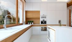 Küche Kitchen ideas with white countertop - Little Piece Of Me Keeping Up With Trends In Home Effici Replacing Kitchen Countertops, Kitchen Remodel, White Modern Kitchen, Kitchen Layout, Minimalist Kitchen, White Countertops, Kitchen Renovation, Large Kitchen Island, Kitchen Design