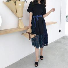Retro Korea chic wind ribbon waist thin two-piece set lace hem temperament summer short-sleeved dress