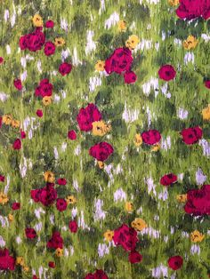 12 Yards Vtg 40's 50's Floral Cotton Fabric Dressmakers Bright Unique Period Pattern Exc Quality