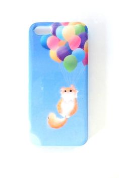 Up and Away Iphone 5s Case by britsketch on Etsy, $35.00 I love the kitty and balloons!