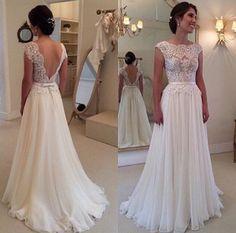 2017 Hot Selling Custom Made A Line Wedding Dresses Vestido de Noiva  Casamento Chiffon Lace See through Backless Robe De Mariage 0e48e9a48875