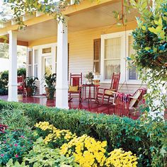 Porch Planning  Love a porch swing and chairs with table design.  This speaks inviting.  A good way to get to know your neighbors... I would love a wrap around porch like this... =)