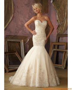 2013 Wunderschöne Brautkleider aus Satin und Organza mit Applikation Meerjungfrau
