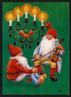 Christmas Gnome, Vintage Christmas, Christmas Crafts, Photo Postcards, Vintage Postcards, Christmas Pictures, All Things Christmas, Elves And Fairies, Paint Cards