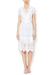 Macramé Lace V-Neck Dress by Oscar de la Renta at Gilt