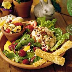 southern living chicken salad with honey and dried cranberries & toasted pecans.....YUMMY!