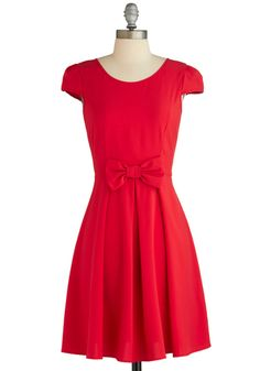 Candy Apple Cute Dress - Mid-length, Red, Solid, Backless, Bows, Party, Fit & Flare, Cap Sleeves