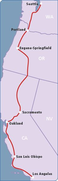 Coast Starlight route with Amtrak.  A wonderful way to travel through a beautiful part of the country!