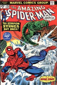 """Amazing Spider-Man vol. 1 # 145, """"Gwen Stacy is alive...and, well...?!"""" (June, 1975). Cover by Gil Kane."""