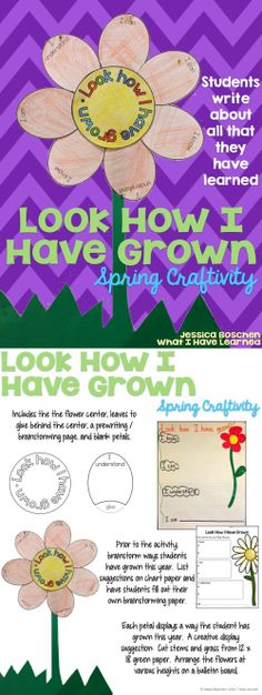 Look How I Have Grown {Spring Craftivity} where students can write about all the things they have learned this past year. Great for spring bulletin boards! Teaching Second Grade Teaching Second Grade, 1st Grade Writing, Kindergarten Writing, Student Teaching, Third Grade, Teaching Ideas, Literacy, Spring Bulletin Boards, End Of School Year