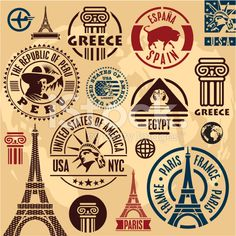 travel stamps Free Printable is part of Free Travel Printables For Kids Pretend Passport - Various Travel stamps design vector 08 Embellishments Eps Vector, Free Vector Art, Travel Stamp, Passport Stamps, Travel Icon, Thinking Day, Travel Themes, Mail Art, Graphic Design Art