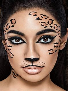 Makeup Tutorial Halloween Browse halloween makeup looks and tutorials by Maybelline. Turn heads with our halloween lip, face & eye makeup ideas, from cat makeup to zombie makeup. Tiger Halloween, Cat Halloween Makeup, Zombie Makeup, Halloween Makeup Looks, Scary Halloween, Eye Makeup, Cheetah Halloween Costume, Halloween Costumes, Horror Makeup