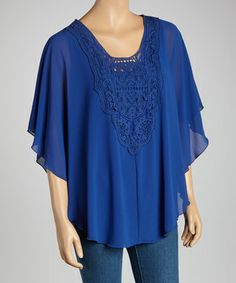 Look what I found on #zulily! Ink Blue Lace Front Chiffon Cape-Sleeve Top by LOVE STITCH #zulilyfinds