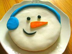 Boneco de neve, cookie gigante.