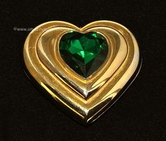 YVES SAINT LAURENT Heart Shaped Powder Compact with Large Green Glass Stone